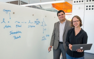 EBI researchers Corinne Scown and Amit Gokhale at the EBB on UC Berkeley campus - research in producing biofuel for jet airplanes.  (Photo by Roy Kaltschmidt)